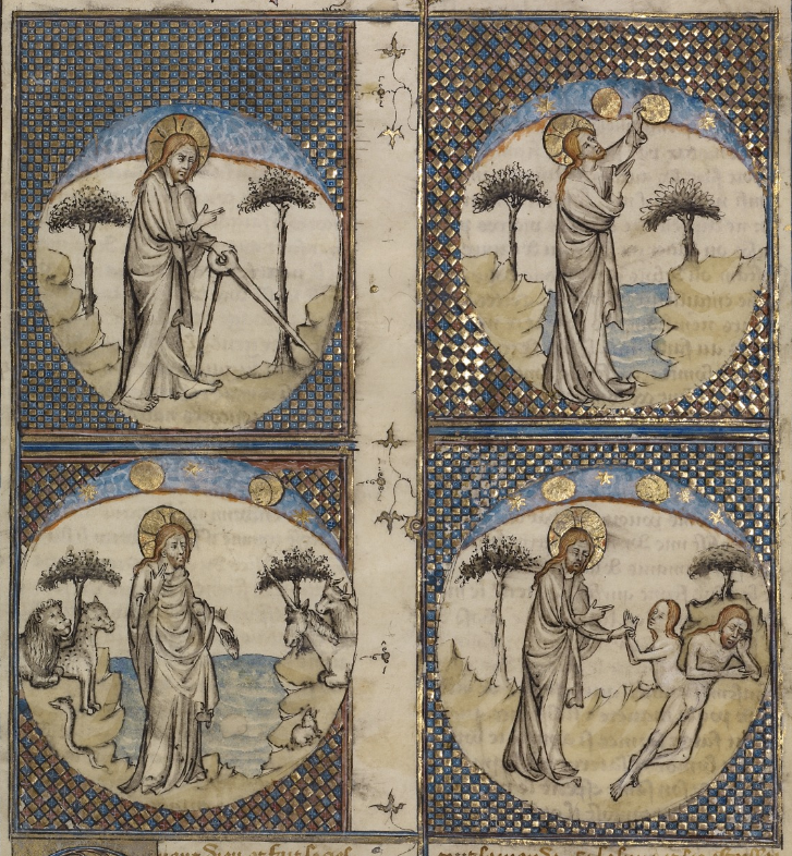 Detail from Scenes from the Creation, about 1390- 1400, First Master of the Bible historiale of Jean de Berry. J. Paul Getty Museum.