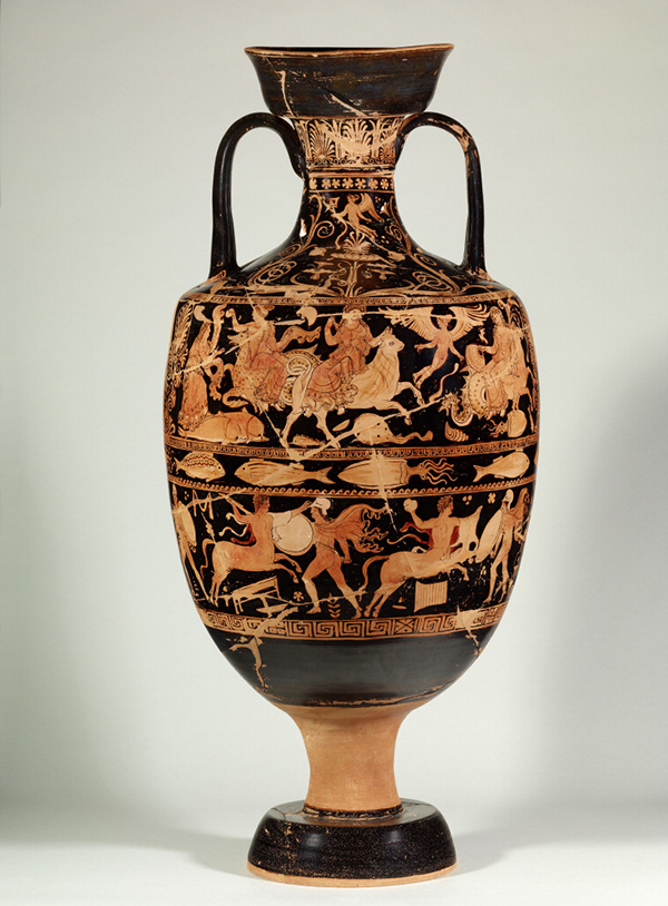 Funerary Vessel with Eros; Europa on the Bull (center, top register); and Lapiths Battling Centaurs, 350–325 B.C. Connected with the work of the Darius Painter and possibly the Perrone Painter. Made in Ceglie del Campo, Italy. Terracotta, 38 9/16 in. high. Antikensammlung, Staatliche Museen zu Berlin. © Staatliche Museen zu Berlin, Antikensammlung. Photo: Johannes Laurentius