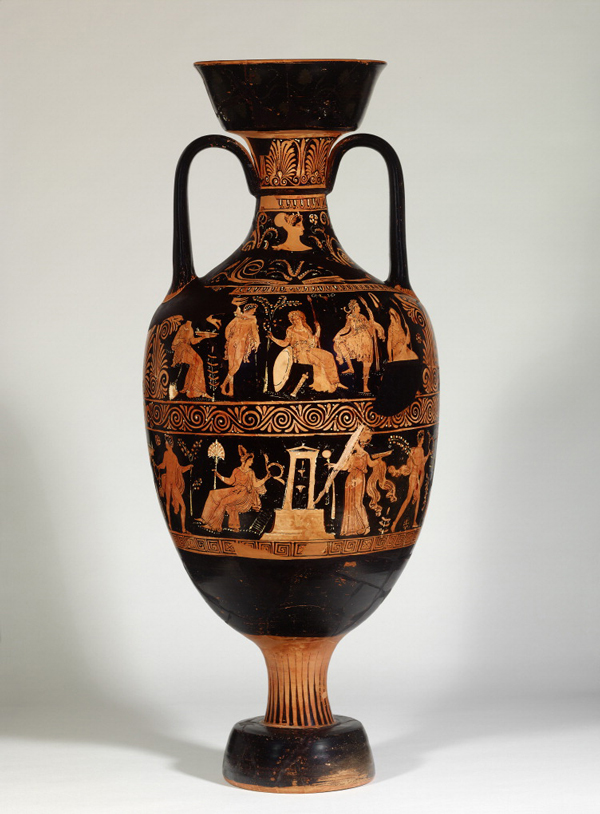 Funerary Vessel with a Female Head; the Judgment of Paris; and Figures at a Gravestone (side A), and with a Female Head; Youths and Women; and Figures Approaching a Gravestone (side B), 350–325 B.C., connected with the work of the Darius Painter. Made in Ceglie del Campo, Italy. Terracotta, 36 1/4 in. high. Antikensammlung, Staatliche Museen zu Berlin. © Staatliche Museen zu Berlin, Antikensammlung. Photo: Johannes Laurentius