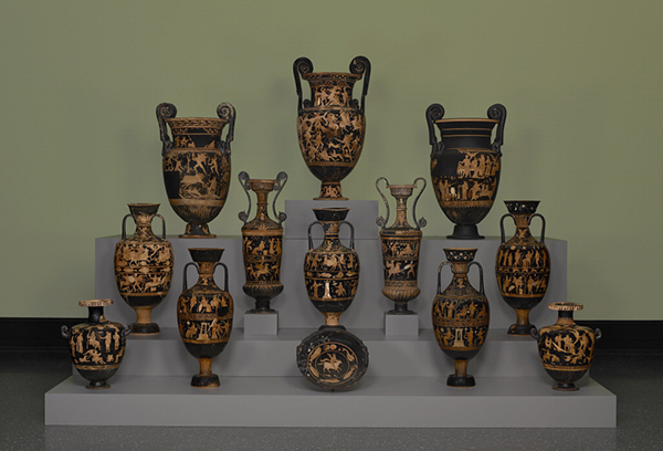 Monumental funerary vases from the Antikensammlung, Staatliche Museen zu Berlin, now on display at the Getty Villa