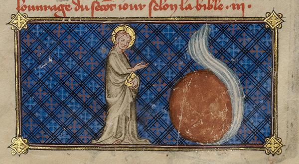 The Creation of the World; The Creation of the Heavens, about 1360 - 1370, Master of Jean de Mandeville. J. Paul Getty Museum.