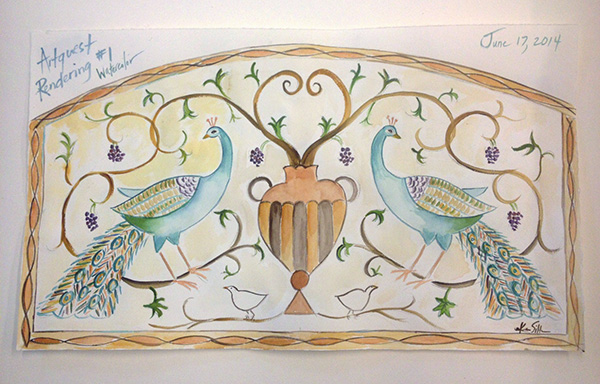Karen Silton's design for a mosaic featuring two peacocks