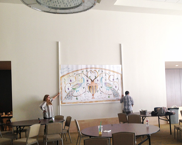 Testing the height and placement of the future mosaic at St. Anthony's