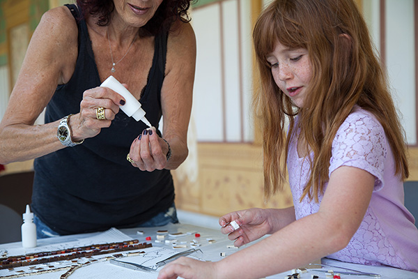 Participants at a Getty Villa mosaic workshop