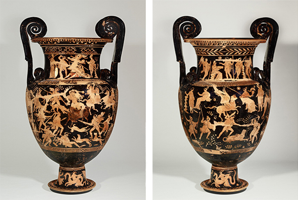 Funerary Vessel with Herakles Slaying Geryon; the Calydonian Boar Hunt; and Nereids (side A); and with Medea, Jason, and the Argonauts; Bellerophon Slaying the Chimaera; and Nereids (side B), 340–310 B.C., attributed to the Phrixos Group Painter. Made in Ceglie del Campo, Italy. Terracotta, 46 7/8 in. high. Antikensammlung, Staatliche Museen zu Berlin. © Staatliche Museen zu Berlin, Antikensammlung. Photo: Johannes Laurentius
