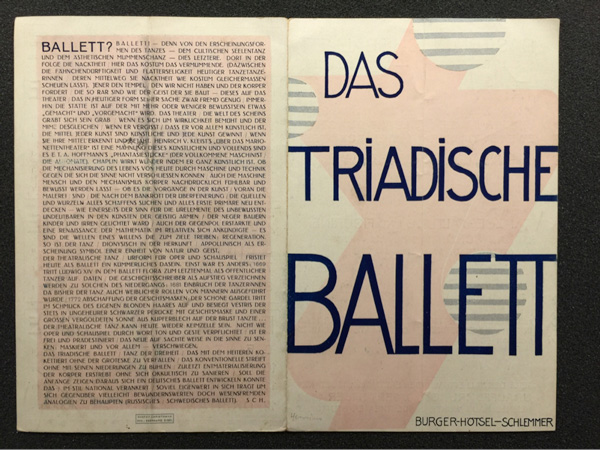 Program of Oskar Schlemmer's Triadic Ballet by Oskar Schlemmer. The Getty Research Library, Wilhelm Arntz collection of rare exhibition catalogs and printed ephemera, 2003.M.13, box 173, folder 4.