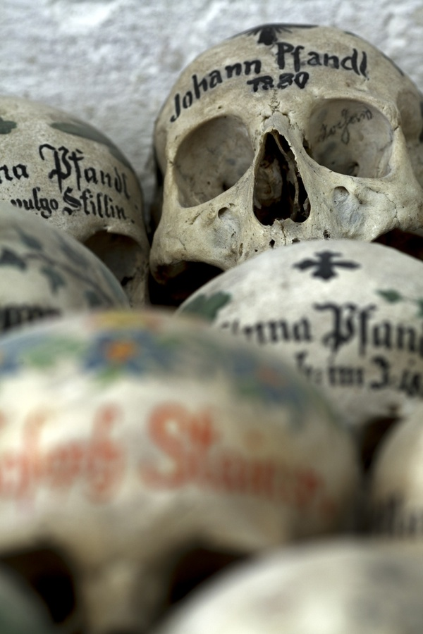 Painted skulls in Hallstatt, Austria
