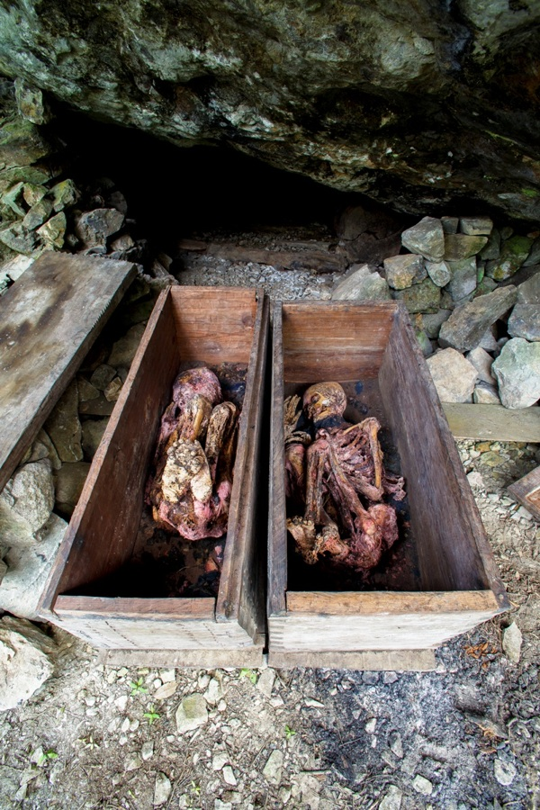 Mummies in a burial cave, Luzon, Philippines
