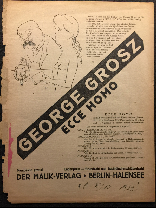 Flyer advertising George Grosz's portfolio Ecce Homo. Getty Research Library, Wilhelm Arntz collection of rare exhibition catalogs and printed ephemera, 2003.M.13, box 73, folder 38.