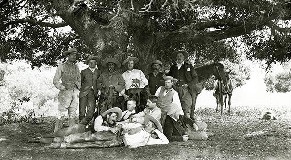 Untitled [Group photo of cowboys at Rancho Santa Anita], ca. 1890, photographer unknown