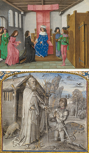 The Embassy of the Duke of Brabant before the King of France and the Duke of Berry in Jean Froissart's Chronicles, Master of the Getty Froissart, about 1480—83. The J. Paul Getty Museum, Ms. Ludwig XIII 7, fol. 272v; A Young Knight in Armor Kneeling in Prayer before Saint Anthony in The Discovery and Translation of the Body of Saint Anthony, Dreux Jean, about 1465—70. The J. Paul Getty Museum, Ms. Ludwig XI 8, fol. 50
