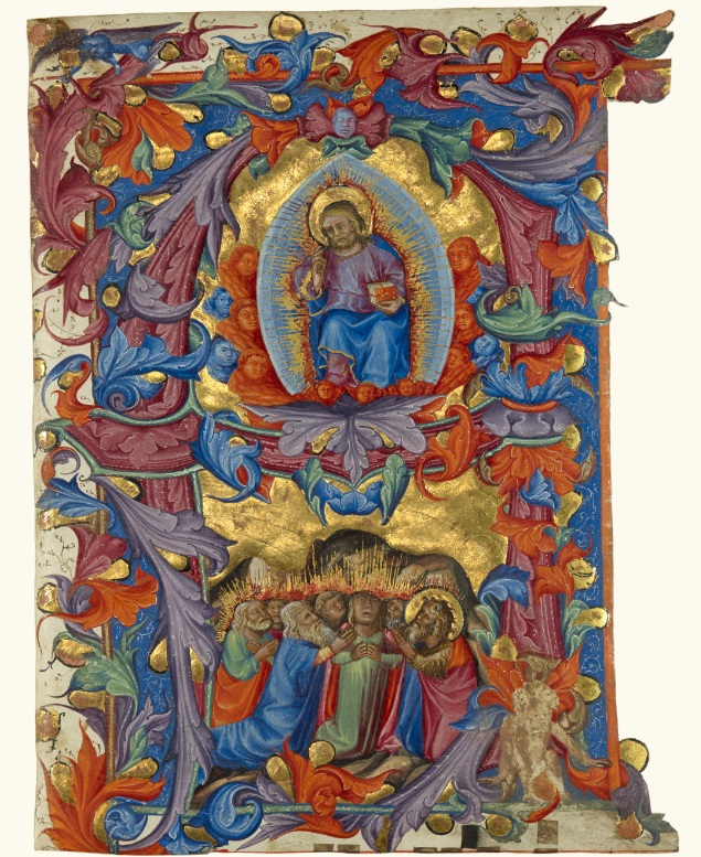 Initial A: The Ascension, attributed to Turone di Maxio, about 1356—87, from a gradual. Private collection, San Francisco