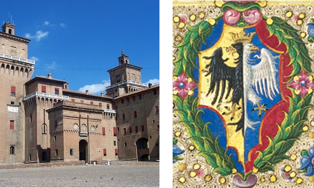 Castello Estense and the Este coat of arms. Photo: Geobia (left; Wikimedia Commons) and the Bible of Borso d'Este (right; Wikimedia Commons)