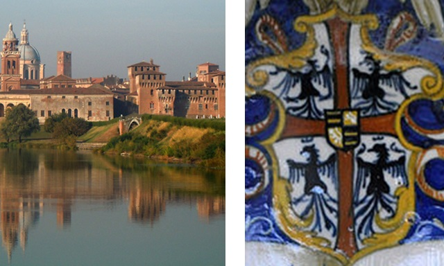 Mantua skyline and the Gonzaga coat of arms. Photo: Massimo Telò and Andreas Praefcke (Wikimedia Commons)