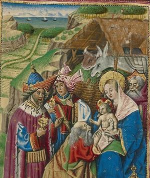 The Adoration of the Magi, about 1460, Unknown. Tempera colors, gold, and ink on parchment. Leaf: 6 3/4 x 4 3/4 inches. The J. Paul Getty Museum