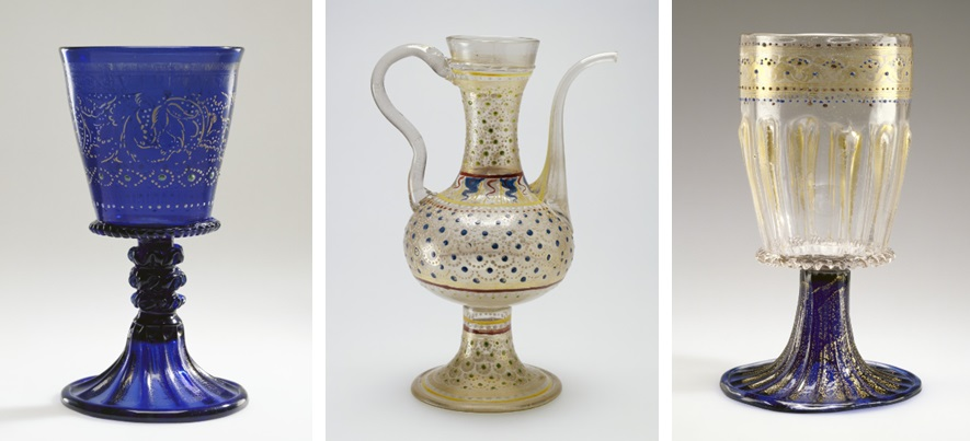 "Left: Goblet, Italian (Murano), about 1500. Inscribed in Latin VIRTUS LAUDATA CRESCIT, ""Virtue grows with praise."" The J. Paul Getty Museum, 84.DK.534. Center: Ewer, Italian (Murano), late 15th or early 16th century. The J. Paul Getty Museum, 84.DK.512. Right: Goblet, Italian (Murano), 1475–1500. The J. Paul Getty Museum, 84.DK.533"