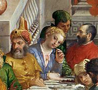 Wedding Feast at Cana - detail of woman using toothpick