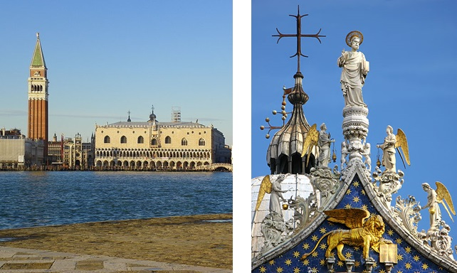 Palazzo Ducale and Saint Mark and the Lion, patron saint and emblem of the Venetian Republic. Photo: Petar Milosevic (Wikimedia Commons)