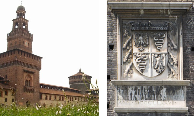 Castello Sforzesco and the Visconti-Sforza arms. Photo: Idéfix and G.dallorto (Wikimedia Commons)