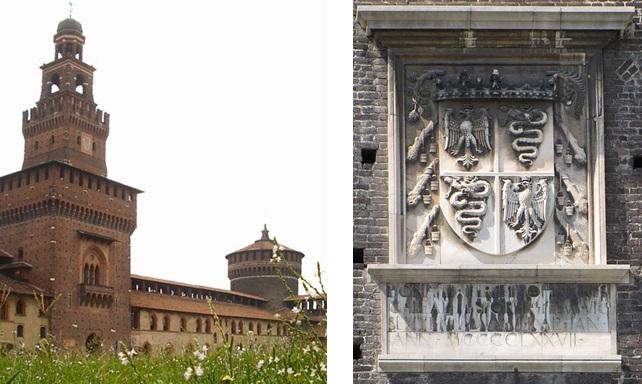 Castello Sforzesco and the Visconti-Sforza arms. Photo: Idéfix and G.dallorto (Wikimedia Commons)