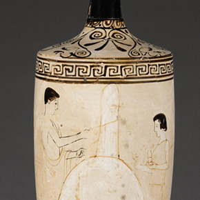 Oil Jar with Family Members Visiting a Grave
