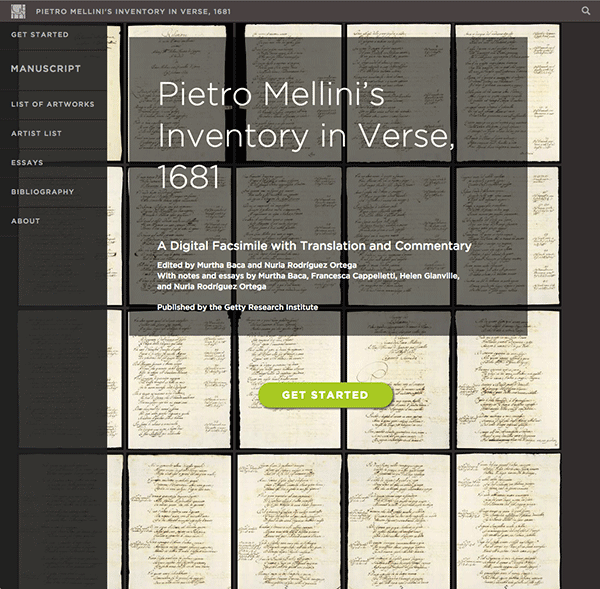 Pietro Mellini's Inventory in Verse, 1681 - home page