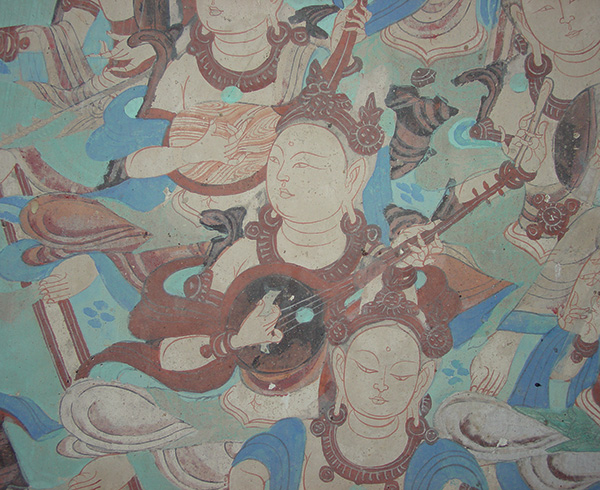 Detail from a wall painting of musicians in Cave 85. Photo: Lori Wong. © J. Paul Getty Trust, reproduced with permission of the Dunhuang Academy