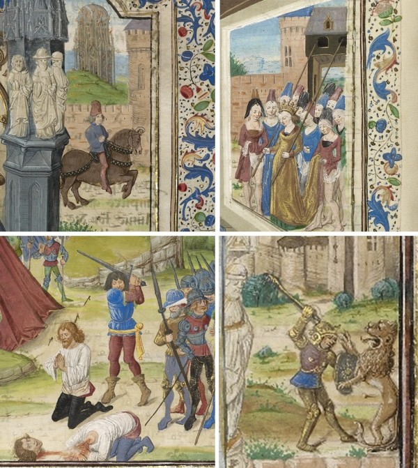 Grid of images from medieval manuscripts depicting Alexander the Great