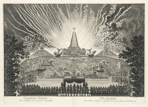 Fireworks on the Grand Canal of Versailles / Jean Lepautre