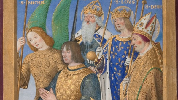 Louis XII of France Kneeling in Prayer, Accompanied by Saints Michael, Charlemagne Louis, and Denis (detail) in The Hours of Louis XII, 1498/99, Jean Bourdichon. The J. Paul Getty Museum, Ms. 79a, recto