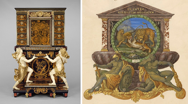 Cabinet by Andre-Charles Boulle / Eschutcheon with a Lion Attacking a Cheetah