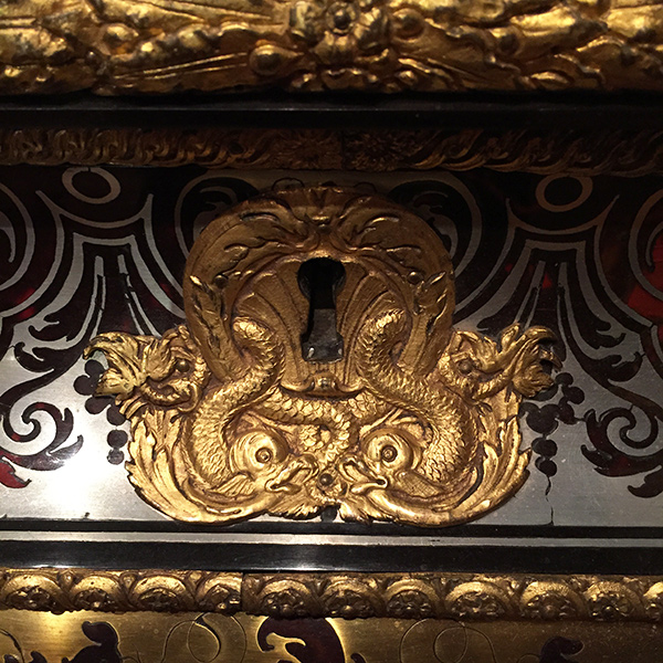 Metalwork on a coffer designed by Andre-Charles Boulle