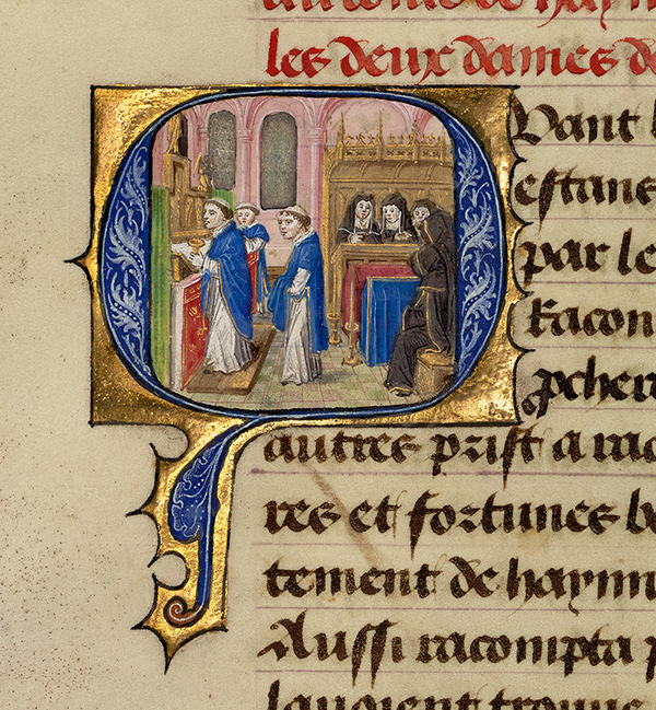 Initial Q: Gillion's Wives Marie and Gracienne during Mass at the Abbey of Olive