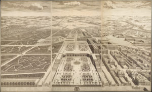 Bird's-Eye View of the Castle of Versailles, Its Gardens and Surroundings, as Seen from the Orangerie / Antoine Coquart