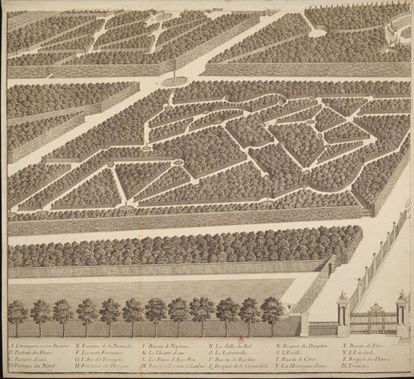 Detail: Bird's-Eye View of the Castle of Versailles, Its Gardens and Surroundings, as Seen from the Orangerie / Antoine Coquart
