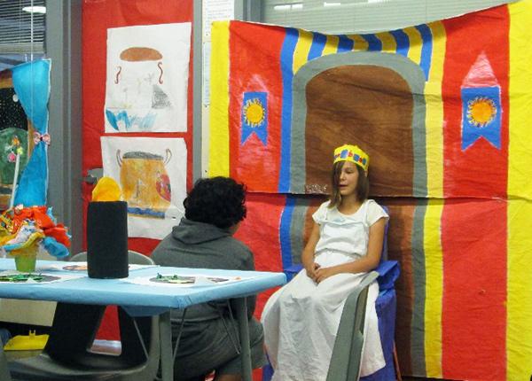 Queen Arete of Phaeacia performs in Ms. Penalosa's honors-level language arts classroom