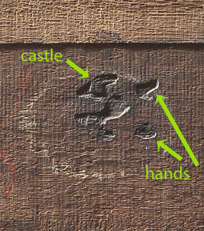 Reverse of a panel painting showing the Antwerp brand with castle and hands