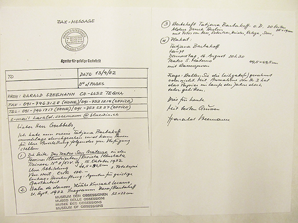 Fax from Harald Szeemann to Guenter Goebbels