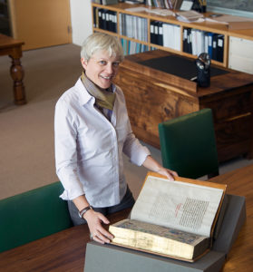Zrinka Stahuljak in the Manuscripts Study Room at the J. Paul Getty Museum