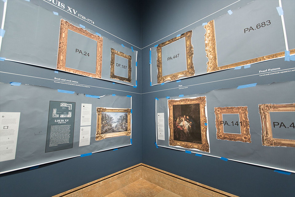during installation paper cutouts helped to frame the exhibition as preparators installed the real frames heres a peek at the process click to pop out
