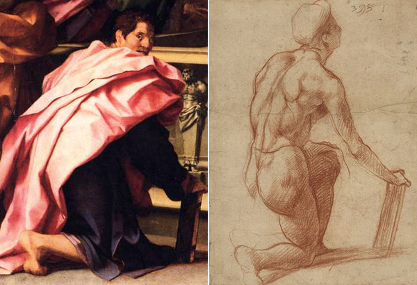 Sketch and painting of a saint / Andrea del Sarto
