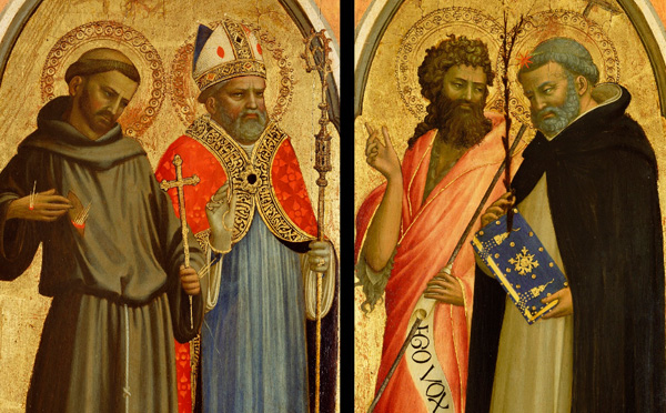Saint Francis and a Bishop Saint, Saint John the Baptist and Saint Dominic / Fra Angelico