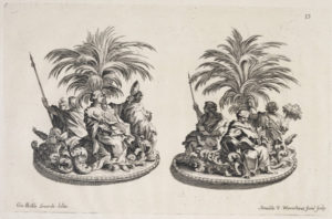 Sugar sculptures of palm trees and nymph