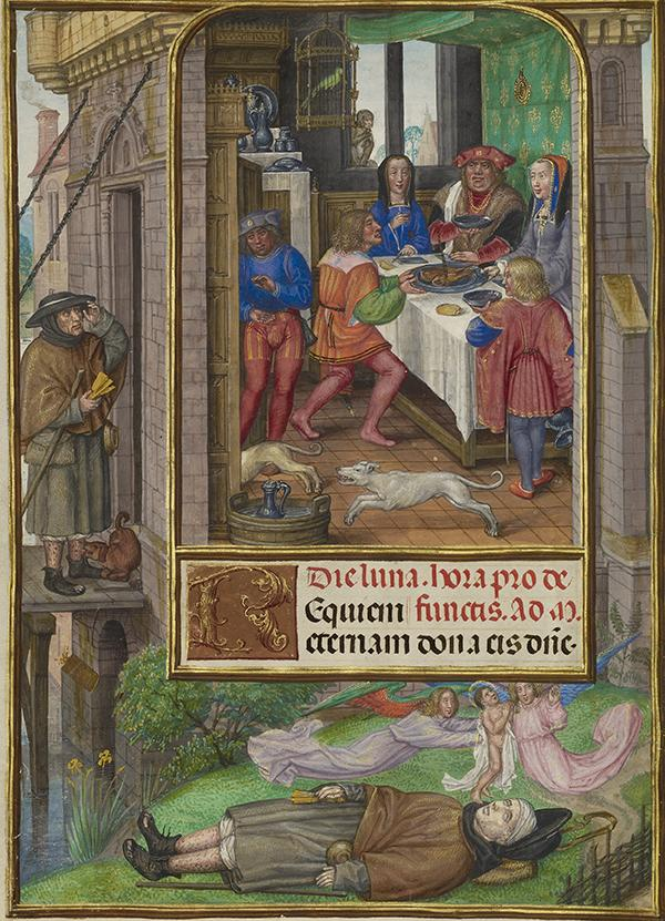 The Feast of Dives, about 1510–1520, Master of James IV of Scotland. Tempera colors, gold, and ink on parchment, 9 1/8 x 6 9/16 in. The J. Paul Getty Museum, Ms. Ludwig IX 18, fol. 21v