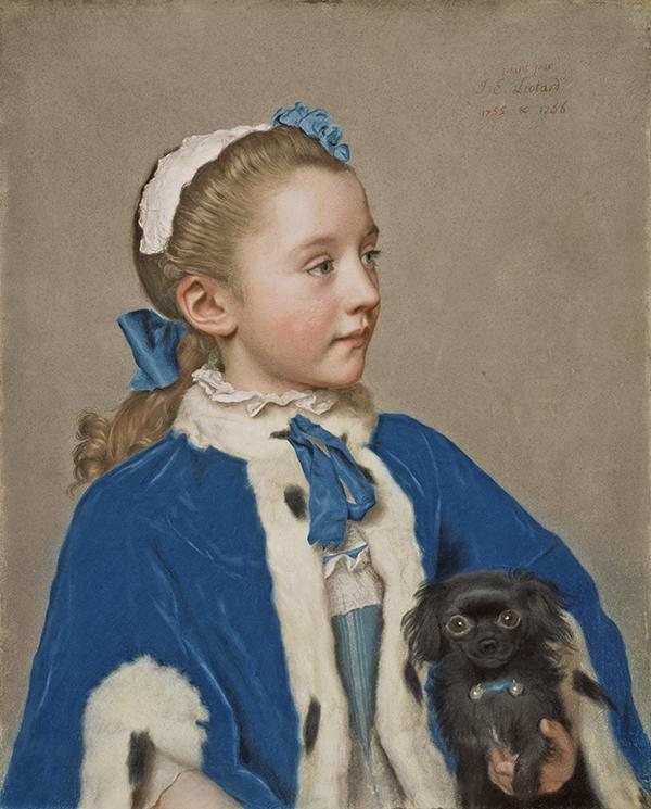 Portrait of Maria Frederike van Reede-Athlone at Seven Years of Age, 1755–1756, Jean-Étienne Liotard. Pastel on vellum, 21 5/8 x 17 5/8 in. The J. Paul Getty Museum, 83.PC.273