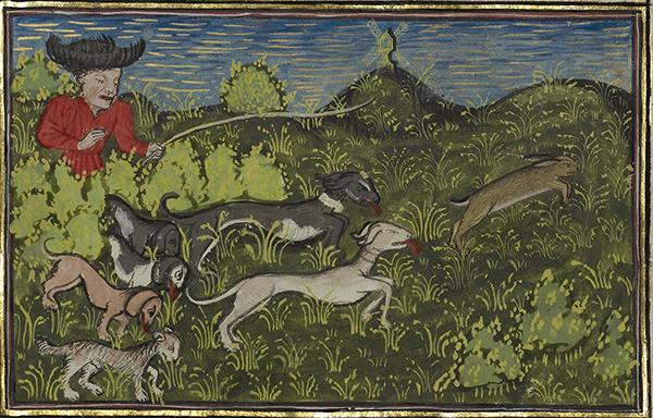 A Hunter and Dogs Pursuing a Hare, about 1430–1440, Unknown. Tempera colors, gold paint, silver paint, and gold leaf on parchment, 10 3/8 x 7 1/4 in. The J. Paul Getty Museum, Ms. 27, fol. 85