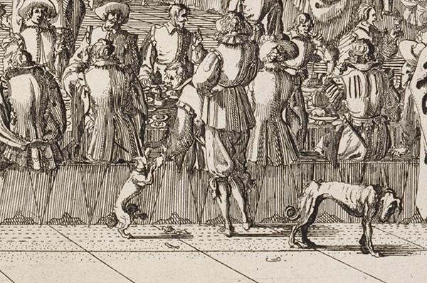 Fu veramente piacevol il convito fatto dalli signori Piacevoli servi di V.A.S. (detail), 1627, Stefano Della Bella. Etching. The Getty Research Institute, P910002