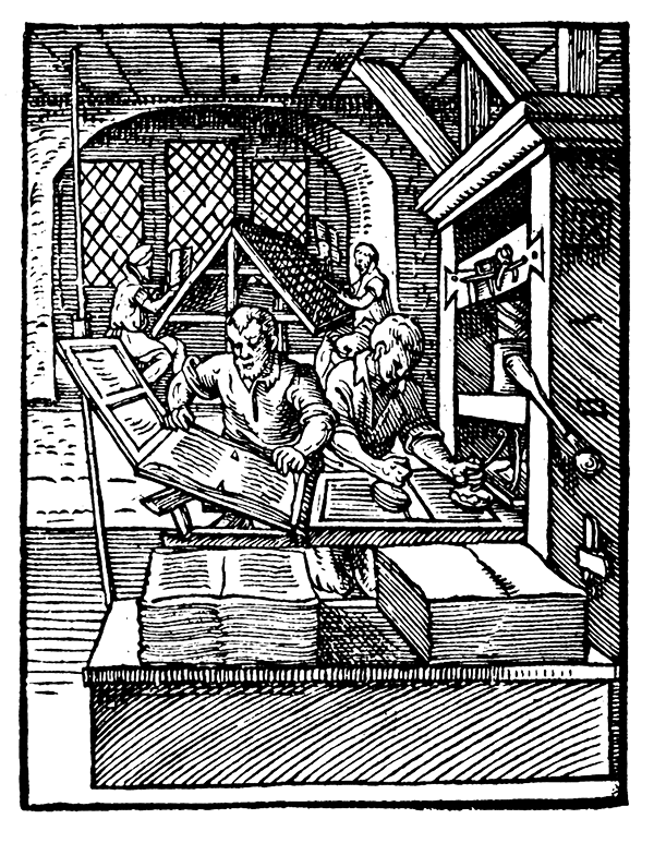Woodcut of a 16th-century print shop