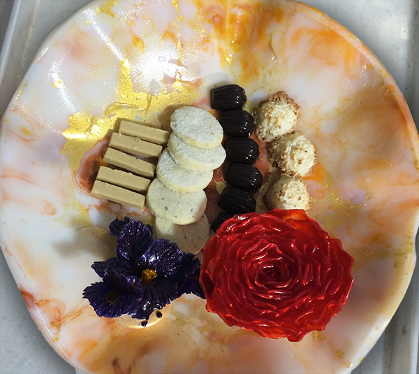 Cast sugar plate with petits fours