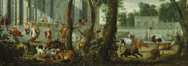Ulysses at the Palace of Circe; Wilhelm Schubert van Ehrenberg (Flemish, 1630 - about 1676), animals by Carl Borromäus Andreas Ruthart (German, 1630 - 1703); 1667; Oil on canvas; 88.9 x 121.6 cm (35 x 47 7/8 in.); 71.PA.20